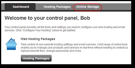 Online Storage Finding your Online Storage access details Log in to your control panel and click the Online