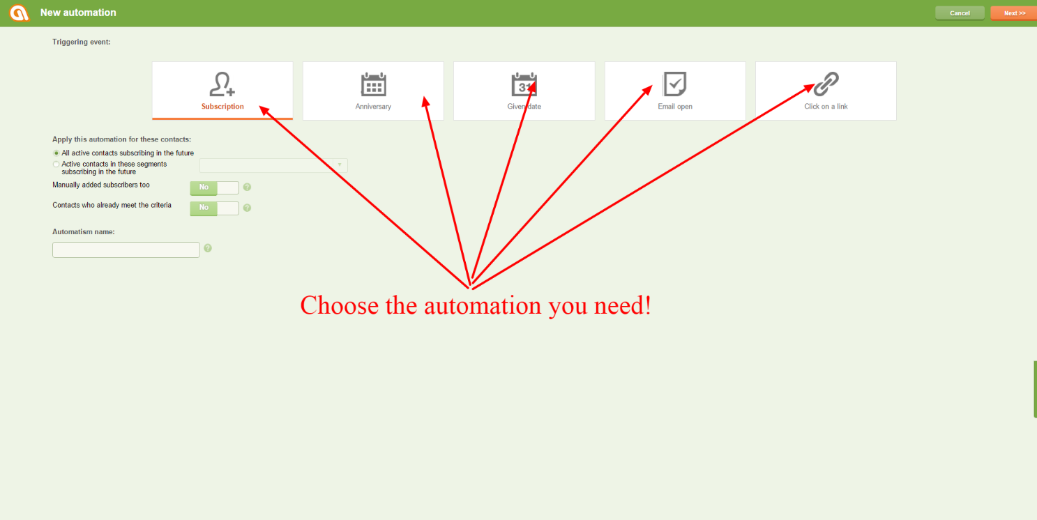 Choose the automation you need Click on Next