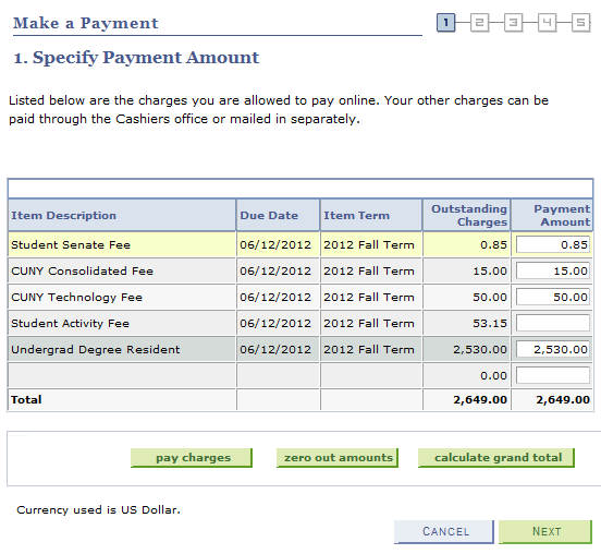 7. Dollar amounts may be deleted or changed in any of the Payment Amount fields.