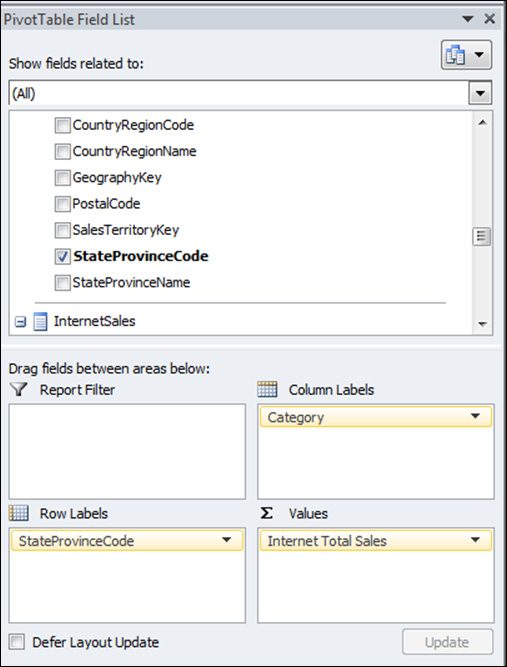 TESTING THE TABULAR MODEL A useful feature of the Tabular Model Designer in the SQL Data Tools project is the ability to analyze and test the model in Excel.