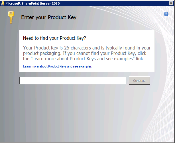 9. Enter Product Key, once is validated press