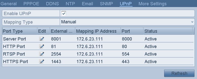 If you select Manual as the mapping type, you can edit the external port on your demand by clicking to activate the External Port Settings dialog box.