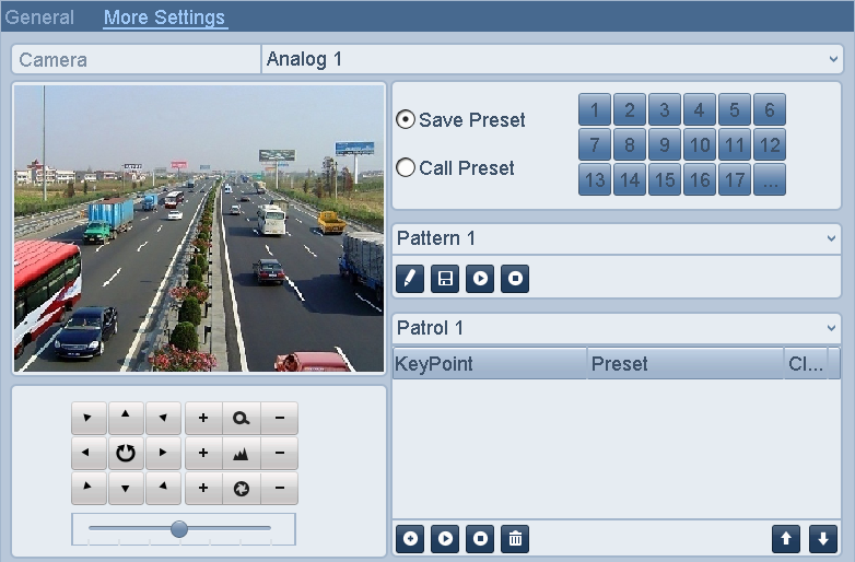 Figure 4. 10 PTZ Panel-Patrol 4.2.5 Customizing Patterns Purpose: A pattern is a memorized, repeating series of pan, tilt, zoom, and preset functions. 1. Enter the PTZ Control interface.