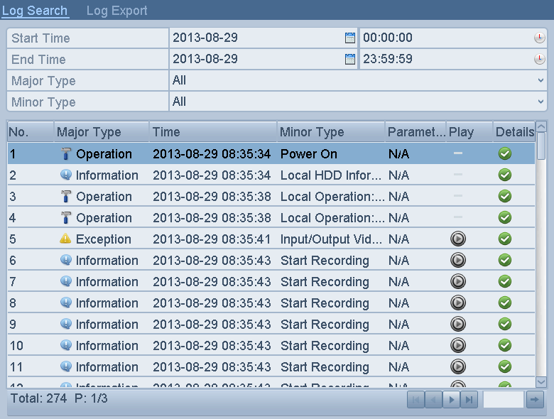 Figure 6. 19 Result of System Log Search 5. Select a log with record file and click the icon to enter Log Playback interface.