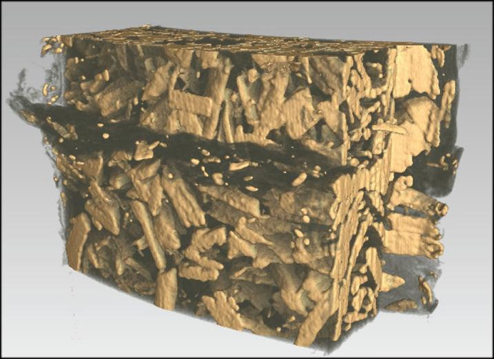WPC (Wood Plastic Composites) joints Full 3d reconstruction shows the separation of plastic and wood Inclusions were detected automatically by the analysis software and