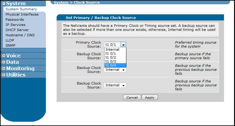 Configuring on the NetVanta 6240 using the GUI 4. Select System Summary from the menu on the left. Then select the Current System Clock Source hyperlink. Figure 12.