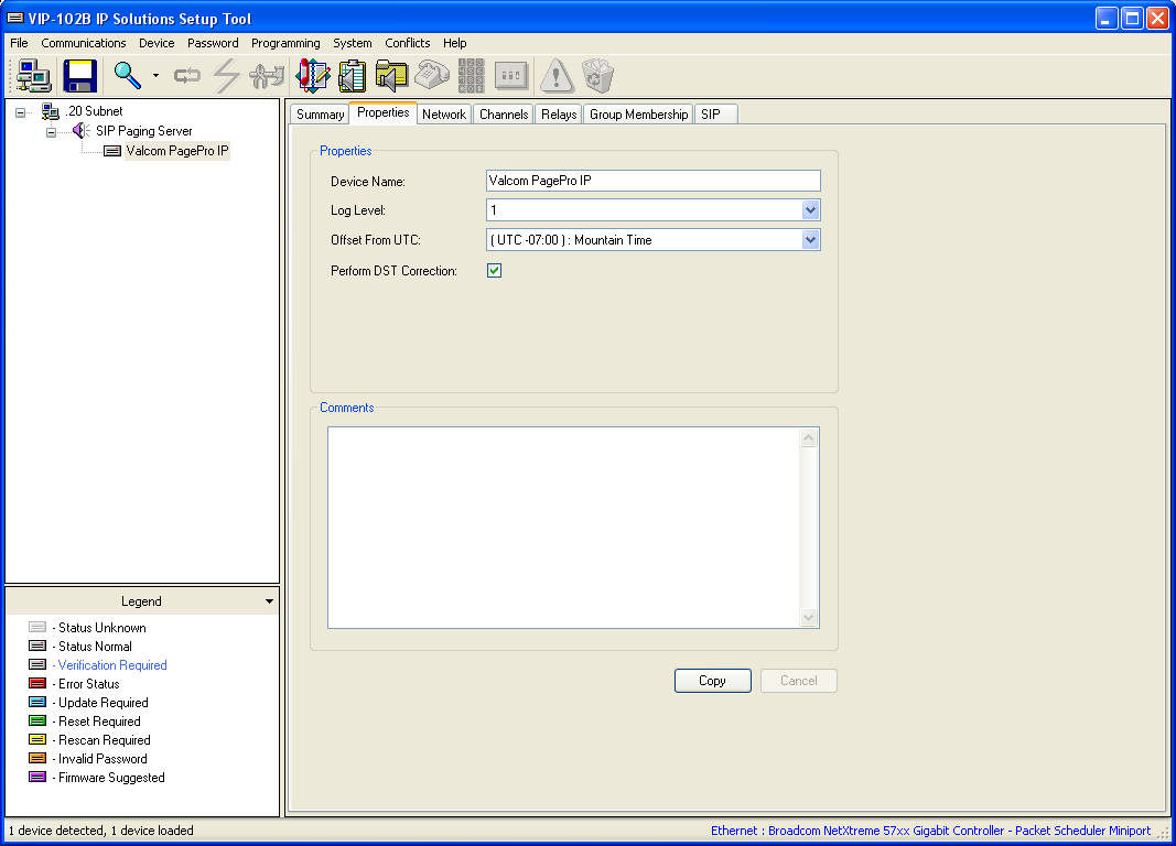 5.2. Administer Properties Select the Valcom PageProIP from the left pane to display the configuration tabs in the right pane.