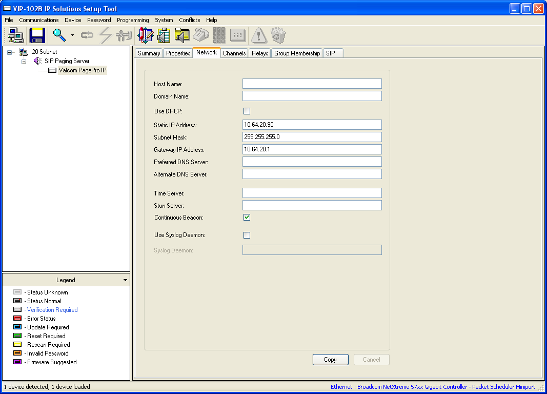 5.3. Administer Network Select the Network tab and enter the appropriate values.