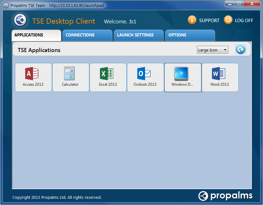 TSE Desktop Client The new TSE Desktop Client (TSE-DC) offers users a browser-less way to access, manage and configure TSE published applications.