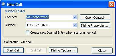 Screenshot 11 Microsoft Outlook New Call dialog 3. In the section Connect using line, select the entry 3CX Phone System.