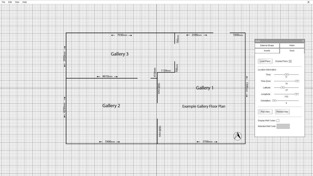 12 Building a Gallery The first step in creating a gallery space is to create the individual spaces. To do this go to the 'External Shape' tab. 1. Click on the 'Add Space' button. 2.