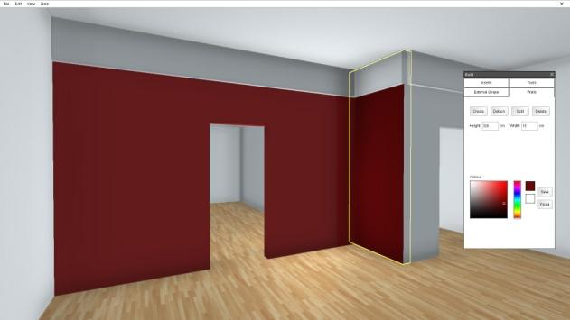 22 Adding colour to Walls All walls in the gallery can be painted by accessing the 'Walls' Tab.
