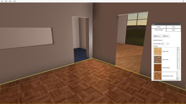23 5. Continue painting. Changing floor coverings 1. To change floor coverings the 'External Walls' tab must be active.