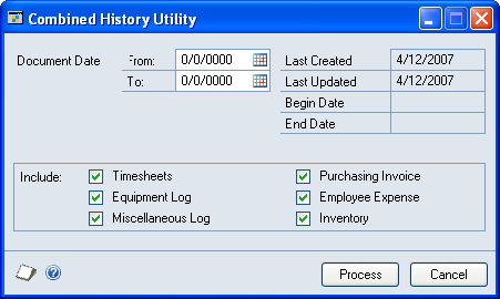 CHAPTER 27 COST, BILLING, REVENUE, AND PROFIT INQUIRIES 1. Open the Combined History Utility window. Microsoft Dynamics GP menu > Tools > Utilities > Project > Create Combined History 2.