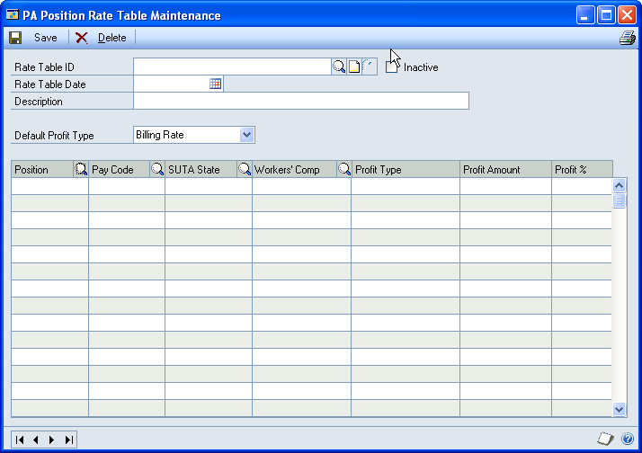 CHAPTER 4 RATE TABLES Create a position rate table You can use the PA Position Rate Table Maintenance window (Cards > Project > Position Rate Table) to create a position rate table, which is a list