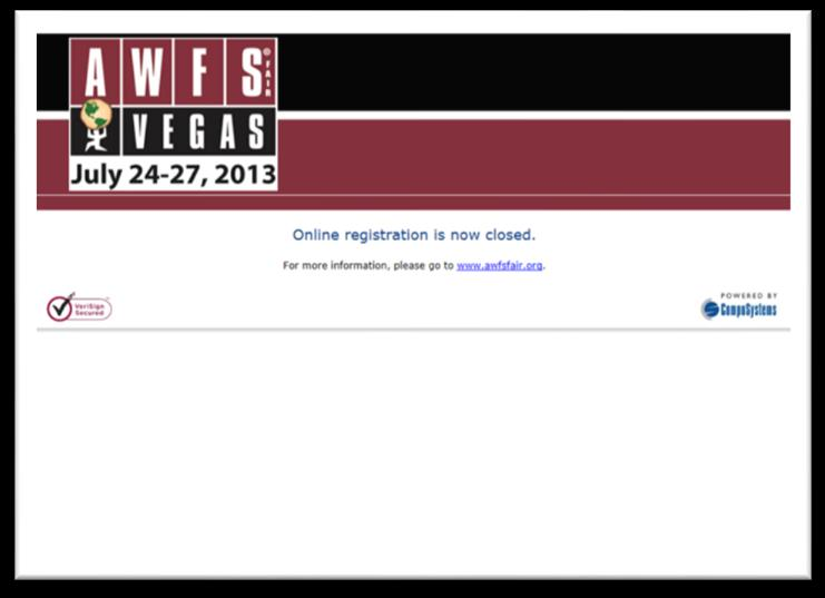 ATTENDEE ONLINE REGISTRATION OPPORTUNITIES For BEST RESULTS: order by January 1, 2015 to get your message and ad to every registered attendee WEB LANDING PAGE of the online AWFS Fair Attendee