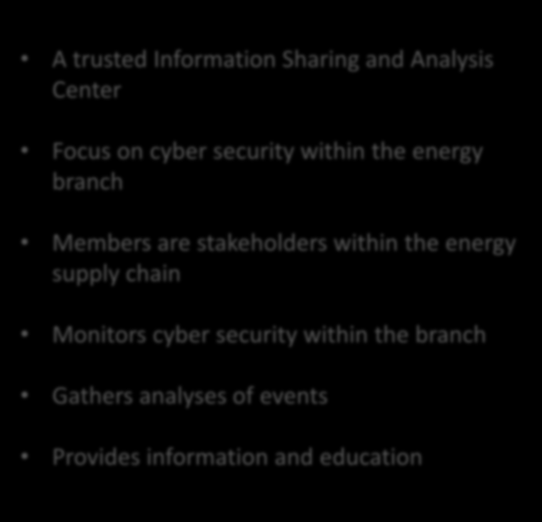 European Energy ISAC A trusted Information Sharing and Analysis Center Focus on cyber security within the energy branch Members are