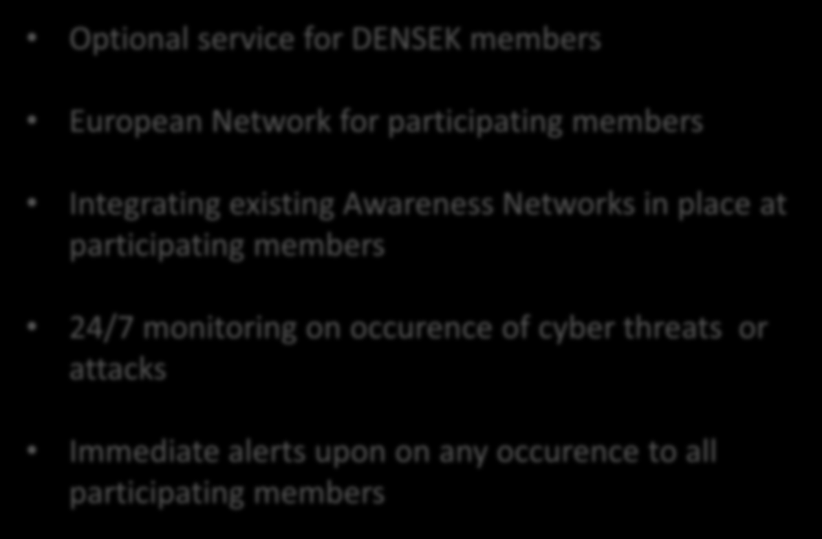 Situational Awareness Network Optional service for DENSEK members European Network for participating members Integrating existing Awareness Networks in