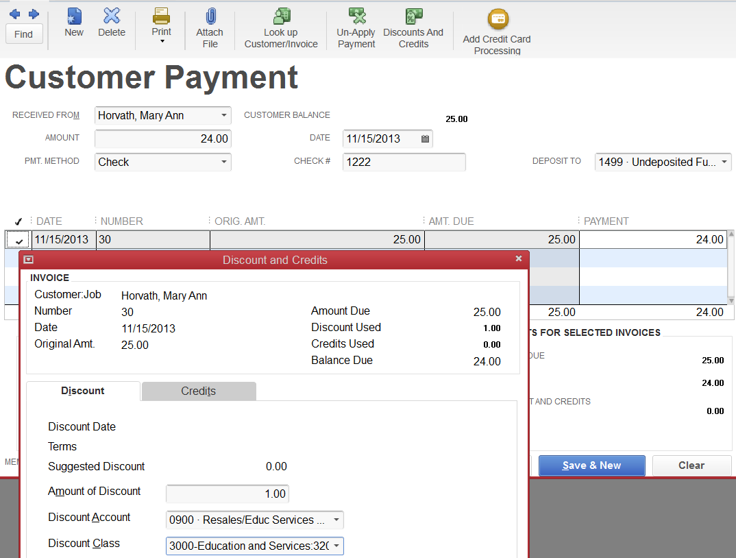 Received Customer Payments When the customer payment is received.