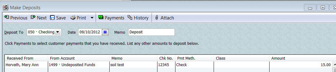 Add Customer Payment to Deposit After Customer payments have been recorded in the Receipt book recorded as a Received Payment in QB then include the customer payment in a deposit.