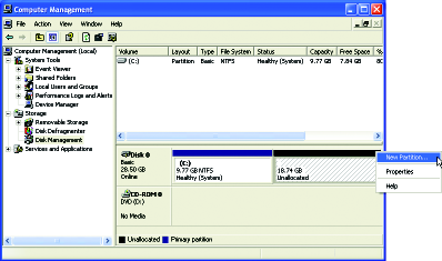 4. After the operating system is installed, right-click the My Computer icon on your desktop and select Manage (Figure 4). Go to Computer Management to check disk allocation.