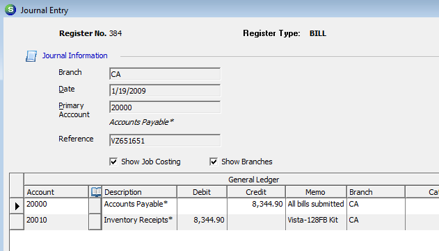 G/L Transaction from A/P Bill (created from a Parts