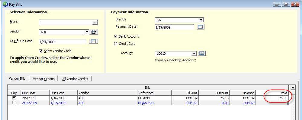 Using a Vendor Credit without Generating a Check