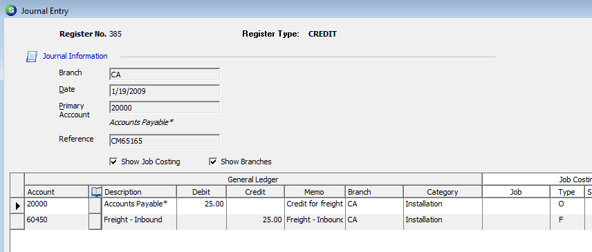 G/L Transaction from Applying a Vendor Credit to a Bill (no