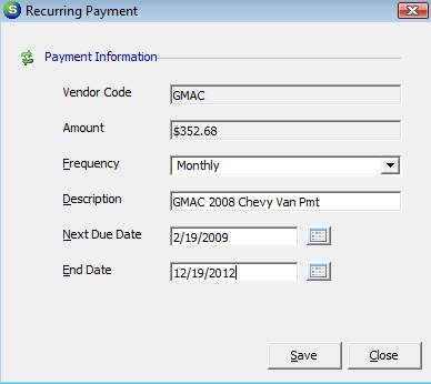 When marking a check as a Recurring Payment, the user is prompted to select how frequently the check should be generated and whether the checks should stop
