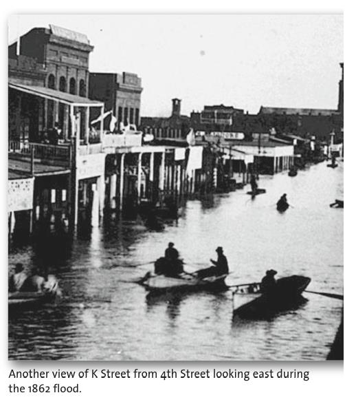 The 1861-1862 Floods 24 Dec 1861 21 Jan 1862: nearly unbroken rains 300% to 500% of normal precipitation in San Diego, Sacramento, and SF Central Valley flooded 300 miles x 12 60 miles wide LA