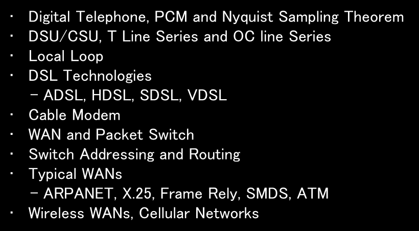 Lecture 6 Long Distance Connection and WAN Digital Telephone, PCM and Nyquist Sampling Theorem DSU/CSU, T Line Series and OC line Series Local Loop DSL Technologies -