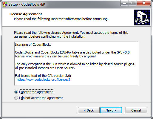 2. A new window appears as shown in figure 13. Click Next. Figure 13: Welcome to the CodeBlocks-EP Setup Wizard screen 3.