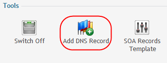 Step 9 Click the Add DNS Record icon again. This time select A from the Record type dropdown menu.