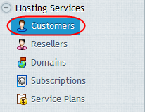 Adding a new Customer account Step 1 In your Plesk control panel on your server, click on Customers from within the Hosting Services section with the left menu.