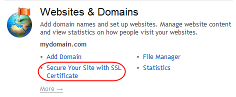 Step 2 Select Open in Control Panel for the domain you wish to add SSL to.