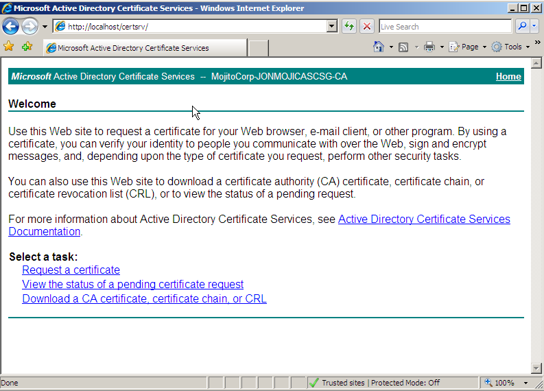 Signing the CSR with your CA 1. After you have created the Certificate Signing Request, you must have it signed by a CA.
