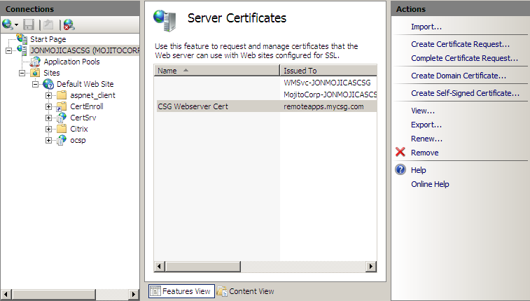 You now have three certificates within the Server Certificates