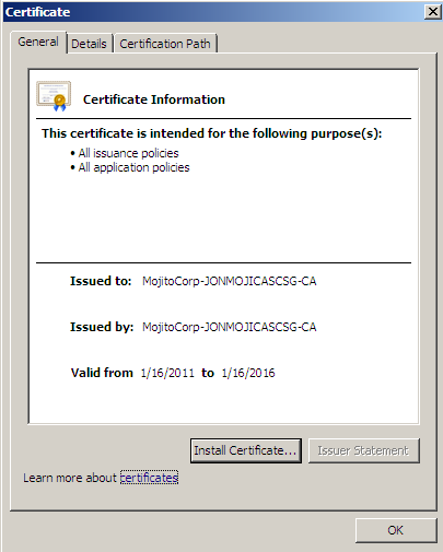 Installing the Root CA Certificate 1. Open the Rootcert.
