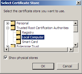 4. Place a bullet in the circle next to Place all certificates in the following store. 5. Click Browse. 6.