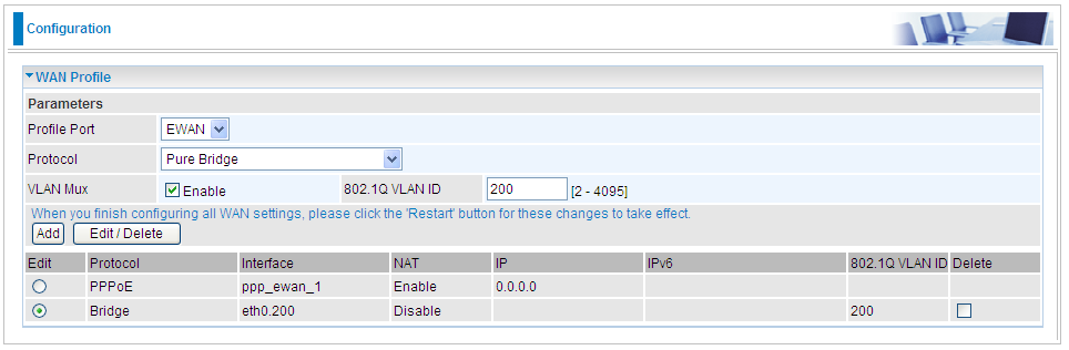 Step 2: Select Pure Bridge mode, Enable VLAN MUX, set 802.1Q VLAN ID 200, Click Add. Step 3: Now go to Configuration > Advanced > VLAN, start to set VLAN.