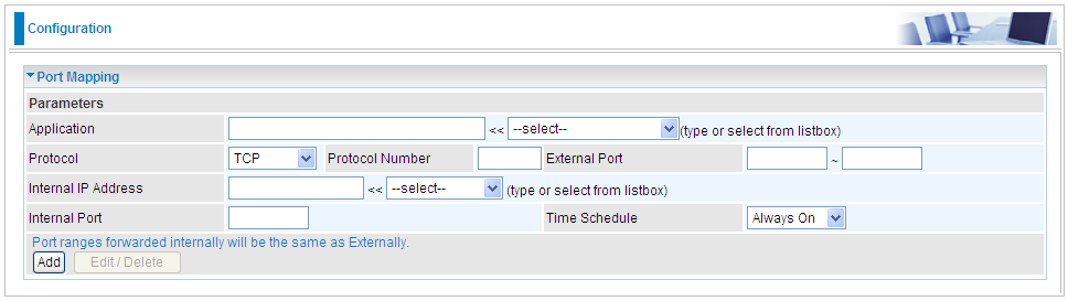 Port Mapping Application: Select the service you wish to configure.