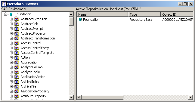 Metadata SAS Management Console