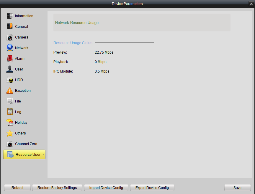 4.3.14 Resource Usage In this interface, you find the network resource usage status, including preview, playback and IPC