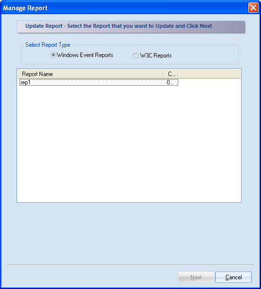 Figure 4.71: Selecting Report Type for update 2. Select the report type: Windows Events Reports or W3C Reports as per your requirement. All the existing reports of the particular type will get listed.