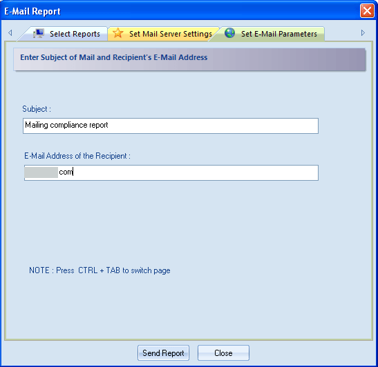 Figure 4.80: Setting Email Parameters 7. Give subject of the mail and email address of the recipient in required fields.