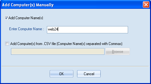 Figure 4.18: Add Computer(s) Manually dialog 2. Enter Computer name in the Enter Computer Name field or add computer names by importing them from a CSV file Figure 4.
