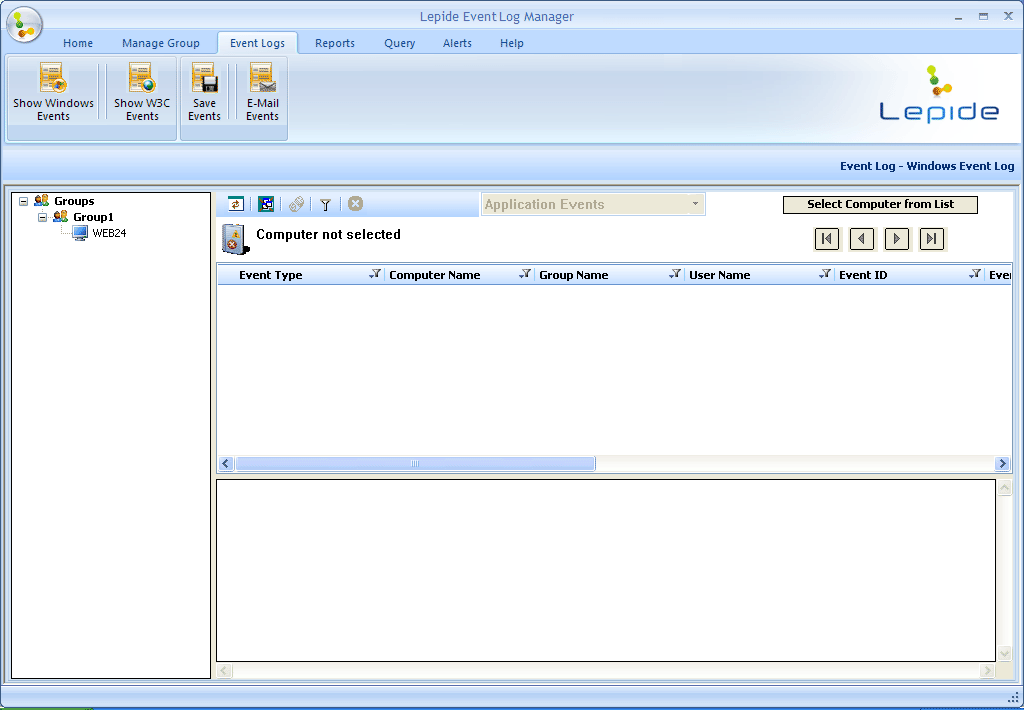 Figure 4.35: Screen appearing after selecting Show Windows Events option 2.