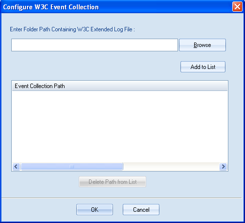 "2. Select button to add W3C event collection path. A dialog box ""Configure W3C Event Collection"" will appear: Figure 4."