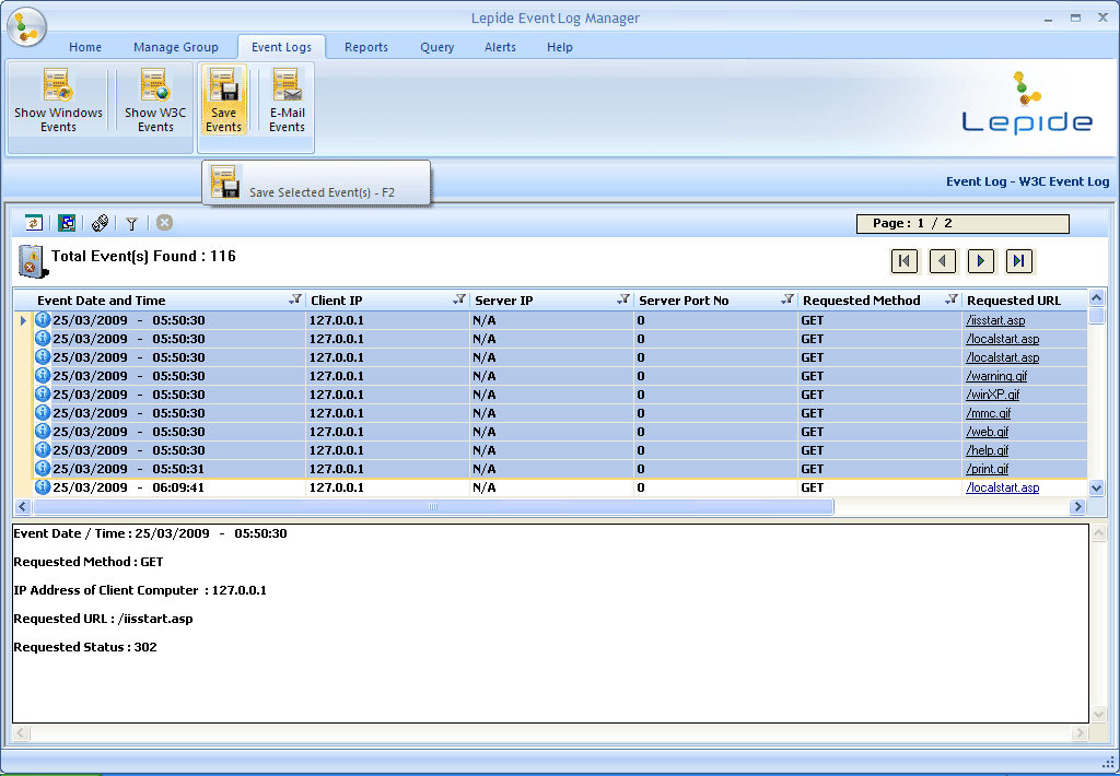 Figure 4.42: Saving selected event logs 3.