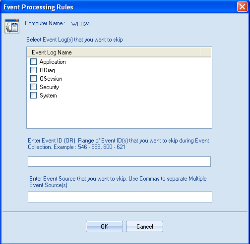 Figure 4.48: Event Processing Rules dialog 5. Select Event Logs that you want to skip during event collection 6.